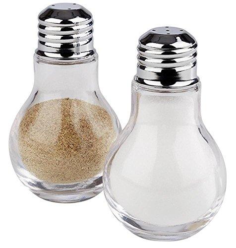 APS zout- en peperstrooier, Ø 6 cm, hoogte 10 cm, glazen potje, deksel van 18/8 roestvrij staal, kruidenmolen, kruidenstrooier