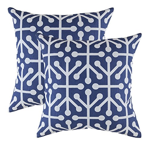TreeWool - Pack de 2 - Octaline Acento Decorativo Fundas de cojín, 100% algodón (40 x 40 cm / 16 x 16 Pulgadas, Azul Marino)