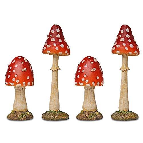 Garten Deko 4 Rote Fliegen Pilze mit Spitzem Kopf aus Polyresin 8-12cm Hoch