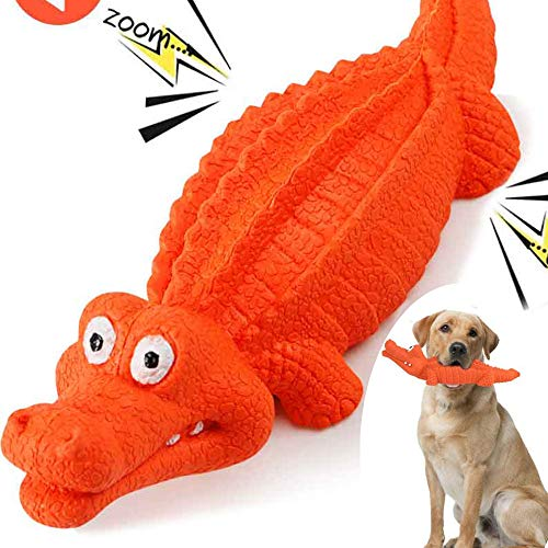 HUADADA Dog Squeaky Toys Dog Chew Crocodile Interactive Toys Durable Rubber Indestructible Training Toy Large Tough Dog Toys for Boredom Puppy Chew Toys Teething Toys Dog Gift(Red)