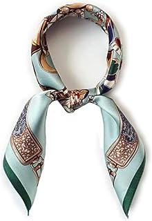 ANDANTINO 100% 絹 ネッカチーフ 小型 正方形 レディース シルク 女性用 軽量 通気性に優れる スカーフ デジタル 染 ヘッドスカーフ