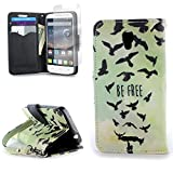 CoverON for Alcatel OneTouch Pop Astro Wallet Case [Carryall Series] Flip Credit Card Phone Cover Design Pouch - Free Bird - with Screen Protector and Wristlet Strap
