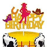 Cowgirl Cake Topper Dallas Little Cowgirl Helmet boot Shooting Mexican Theme for Western Kids Girl Happy Birthday Party Supplies Gold Glitter Decorations