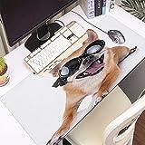 FAQIMEI Alfombrilla Gaming para PC Joven Pura Raza Cachorro Motociclista Humor Chihuahua Animales Fauna Gafas Sol Máxima Precisión con Base de Caucho Natural, Máxima Comodidad