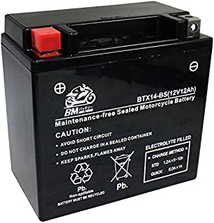 BM バイク用 バッテリー 液入り 充電済み BTX14-BS ( YTX14-BS / CTX14-BS / GTX14-BS / FTX14-BS / DTX14-BS / KTX14-BS / STX14-BS 互換 )