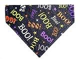 Glittery Reversible BOO Prints Halloween Cat Dog Bandana No Tie Slip On Petwear Neckwear