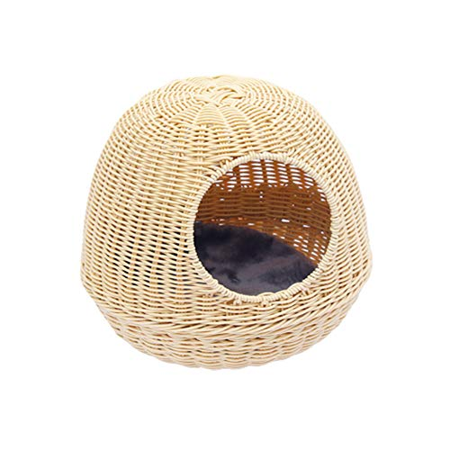 Wicker Pet Nest, Wicker Cat Bed Basket House Cat Small Dog Cosy Bed Round Pet Nest Wicker Dog Bed Soft and Comfortable Washable Suitable for Teddy Bear,beige