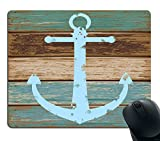 Smooffly Gaming Mouse Pad Custom,Vintage Nautical Anchor Rustic Wood Mouse Pad Non-Slip Thick Rubber Large Mousepad