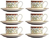 Johnson Bros Lemon - Juego de 6 tazas de té y platillos