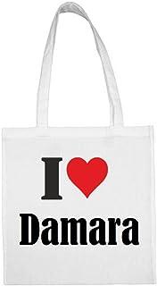 Tasche I Love Damara Größe 38x42 Farbe Weiss Druck Schwarz