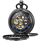 ManChDa Mens Antique Skeleton Mechanical Pocket Watch Dragon Hollow Hunter with Chain and Box (4.Blue)