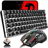 Mechanical Keyboard and Mouse Combo Wired 82 Keys White Backlit Gaming Keyboard Blue Switch, 12000 DPI with 12 Button Programmable Mice Compatible with Laptop PC Gamer Computer Typist Desktop