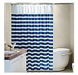 AiZnoY Polyester Duschvorhang Anti-Schimmel Wasserdicht An Badewanne Bad Vorhang Für Badezimmer Inkl. 12 Duschvorhangringen Streifen Blue White 200X200Cm