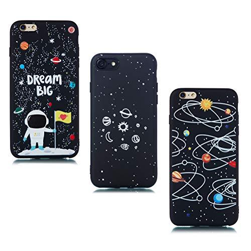 ChoosEU Compatibile con 3X Cover iPhone 7 / iPhone 8 Silicone Disegni Fiore Nero Belle Morbido Antiurto Gomma Custodia Slim Bumper Case Chiaro Protezione Ultra Sottile - Spazio, Astronauta