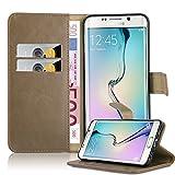 Cadorabo Coque pour Samsung Galaxy S6 Edge Plus en Cappucino Braun – Housse Protection avec Fermoire Magnétique, Stand Horizontal et Fente Carte – Portefeuille Etui Poche Folio Case Cover