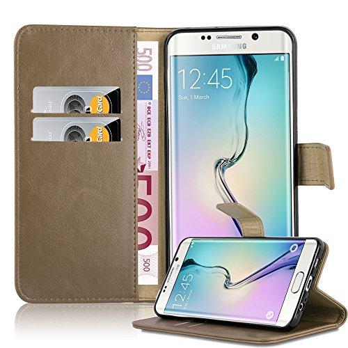 Cadorabo Funda Libro para Samsung Galaxy S6 Edge Plus en MARRÓN Capuchino - Cubierta Proteccíon con Cierre Magnético, Tarjetero y Función de Suporte - Etui Case Cover Carcasa