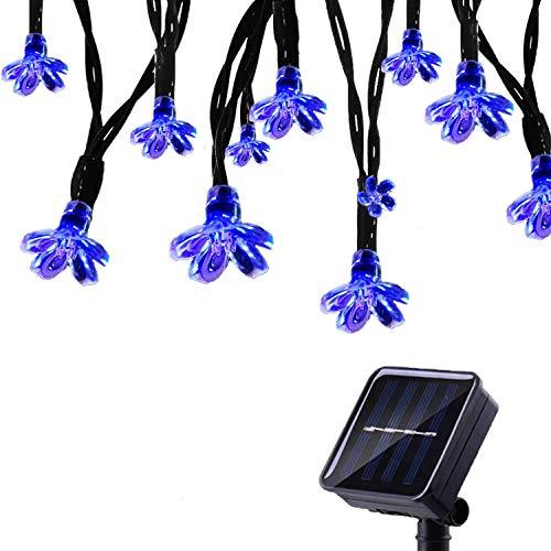 Tuokay 7M Cadena de Luz Solar 8 Modos 50 LED Luces de Navidad Luces Impermeable de Diseño de Flor para Árbol de Navidad, Patio, Jardín, Terraza y Exteriores e Interiores (Azul)