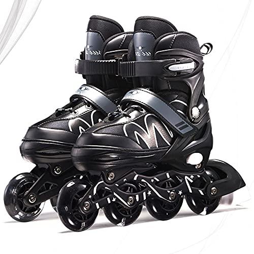 YLJXXY Niños Patines en Línea Ajustables, Adolescentes Patines de Ruedas con Luz LED Triple Protección Zapatos de Patinaje para Chica Chico