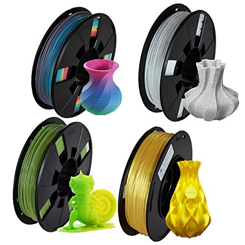 LEE FUNG PLA Plus 3D Printer Filament 4 Colors x 0.55Lbs (2.2lbsTotal) 1.75mm- Multicolor, Change Green to Yellow, Marble, Aurum