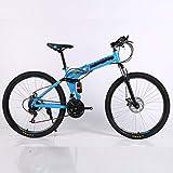XXY 21 Geschwindigkeit Mountainbike Günstige Erwachsene Speichen-Rad-Gebirgsfahrrad Folding Mountain Bike 24/26 Zoll Fahrrad Geeignet for Außen (Color : Blue, Size : 24 inch)