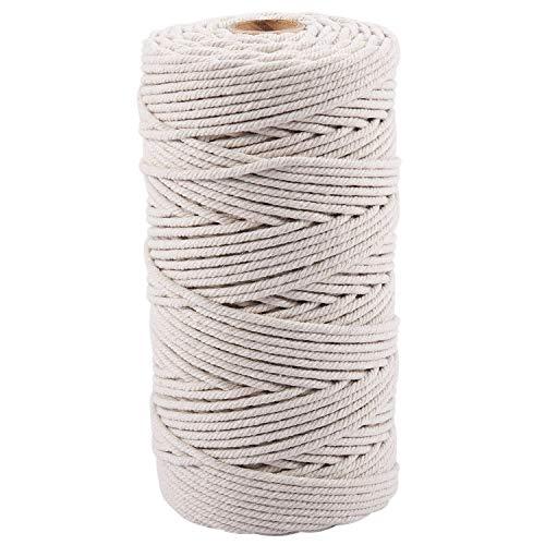 STTAR Cuerda de algodón natural hecha a mano de 3 mm x 200 m, cuerda de macramé, para colgar plantas y manualidades