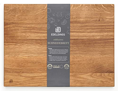 Edeldings XL Massivholz Schneidebrett aus Eiche | Groß 35 х 25 | Küchenbrett Holz aus Europa | Antibakterielles Holzschneidebrett, Servierbrett, Holzbrett, Eichenholz massiv für Küche