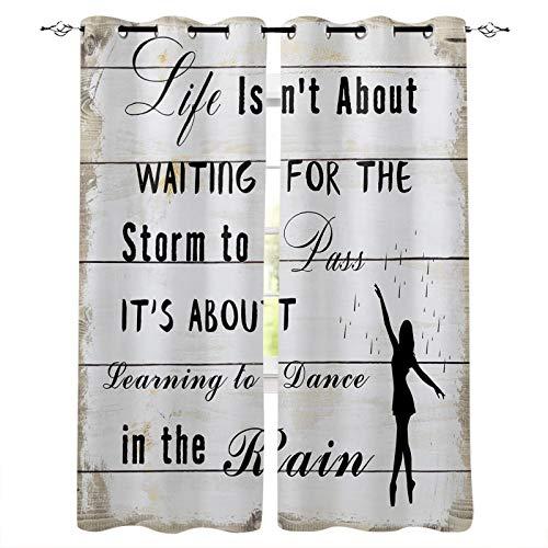 Knight Dream Rideaux occultants avec œillets argentés - Inscription « Dance in the Rain » - Citation d'énergie positive - Grain de bois gris - Isolation thermique - 2 panneaux - 203,2 x 160 cm