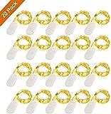 Guirlande Lumineuse à Piles (Inclus) Lot de 20 Étanche Fil en Cuivre 1m avec 10 LEDs Blanc Chaud pour Décoration Anniversaire, Fête, Mariage, Soirée,Noël, Jardin, Terrasse, Pelouse