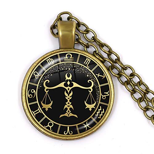 Colgante de zodiaco, libra redondo de bronce antiguo con forma de cúpula de cristal de clavícula, collar de astrología, joyería de moda para mujeres y hombres, amantes de regalo de cumpleaños