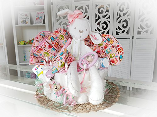 Windeltorte XXL - Spieluhr + Schnullerkette & Greifling mit Namen - Geschenk, Babyparty, Geburt oder Taufe + auf Wunsch, gratis Grußkärtchen