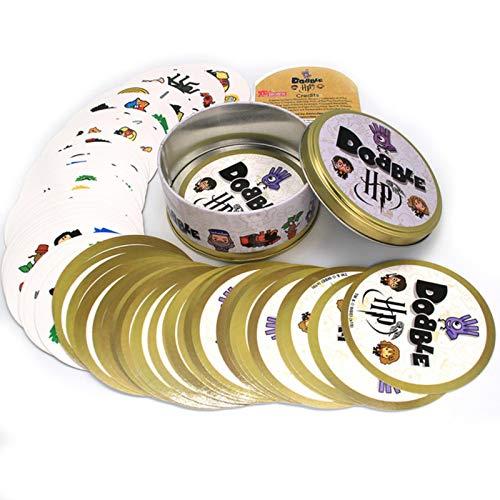 LuckyOne 20 Styles Harry Potter Dobble Spot It Spielzeug Eisen-Box 55 Karten Sport Spaß Familie Tiere Jr Hip Kinder Brettspiel Geschenk Feiertage Camping 123 Blechbox