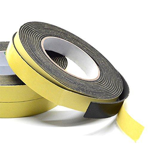 厚手 柔軟 スポンジ クッション すきま テープ 幅10mm 長さ 5メートル 厚さ3mm 黒 窓 ドア 網戸 虫よけ 粘着