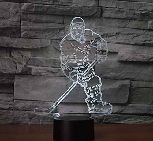 AOXULIU Night Light Play Hockey Acrylic 7Colors Desk Lamp 3D Lamp Gift Led Night Light Black Base