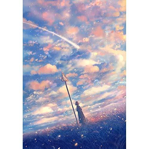 WLJX Sin Marco DIY Pintura por Números Pint por Número de Kits for Adultos Mayores Avanzada Niños Joven,Color, cielo,40cm x 50cm