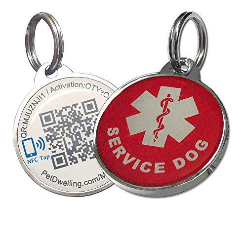 Pet Dwelling Smart Touch Service Dog ID Tag Links to Online Profile w/Google Location Stamp (White NFC)