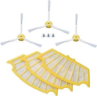 ルンバ500,600シリーズ用黄色フィルター3枚,エッジクリーニングブラシ3本セット 互換品
