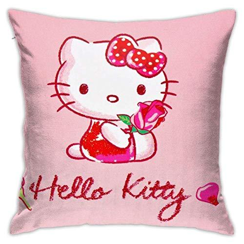 Fodere per Cuscini da 18 Pollici x 18 Pollici Hello Kitty Haed Fodera per Cuscino Decorativa di Forma Quadrata per Divano Set di Cuscini per Divano