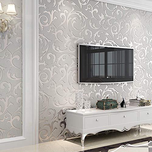 Retro Wallpaper, Waterproof 3D Embossed Wallpaper Roll Glitter Effect 10M Living Room, Leaf Pattern