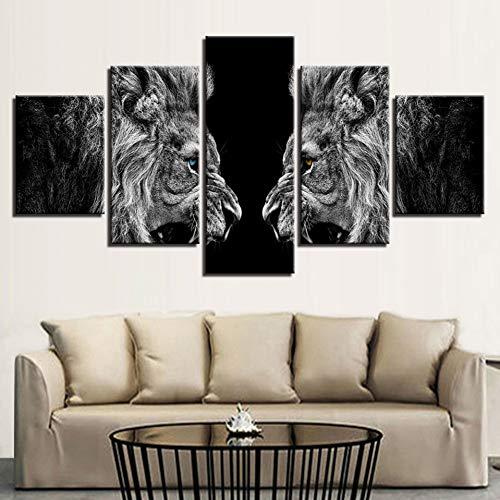 GIAOGE schilderij wooncultuur HD print canvas poster lijst 5 stuks Roaring Lions spiegel schilderij muurkunst dierfoto's voor woonkamer Frame 30 x 40 30 x 60 30 x 80 cm.
