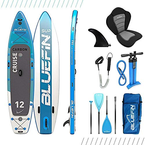 Bluefin SUP Stand Up Inflatable Paddle Board with Kayak Conversion Kit | Ultimate iSUP Kayak Bundle (Blue 12')