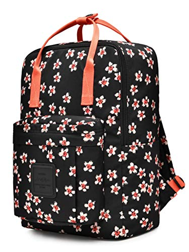 HotStyle BESTIE Medium Backpack for Women & Teen Girls, Floral Bookbag Cute for School, College and Travel, Wintersweet Black