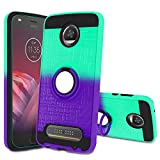 Atump Moto Z2 Play Case,Moto Z2 Play Phone Case with HD Screen Protector, 360 Degree Rotating Ring Holder Kickstand Bracket Cover Phone Case for Moto Z2 Play Mint/Purple
