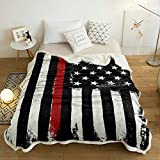 Sherpa Fleece Throw Blanket Black White and Red American Flag Home Decor Reversible Fuzzy Warm and Cozy Throws, Honoring Firefighters Redline Super Soft Plush Bed TV Blankets for Couch/Sofa/Travel