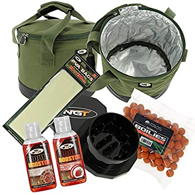 NGT Insulated Bait Bin Boilies with Crusher Liquids and PVA Bag Carp Fishing Set by DNA