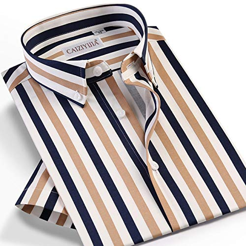 Hemd Mehrfarbig Gestreifte Kurzarmhemden Für Herrenmode Design Ohne Taschen Button-Down Standard-Fit-Hemd Im Sommerstil Mit Hemdoptik 43 Czlx5025D