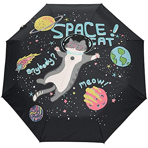 Nette Katze Tierraum Universum Planet Auto Open Umbrella Sun Regen Regenschirm Anti UV Folding Compact Automatic Umbrella