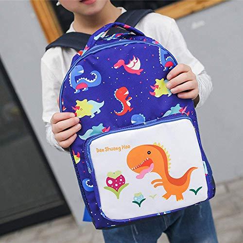 YCX Mädchen Kinderrucksack Jungen Schultasche, Kindertasche Cartoon Schulranzen Mit Sicherheitsgurt-Groß-Dunkelblau,Blau