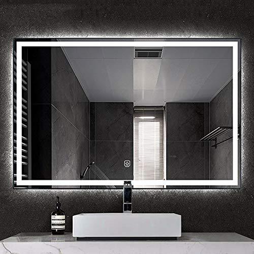 YUANJJ Espejo De Maquillaje Grande, Espejo De Baño con Iluminación LED, Botón...
