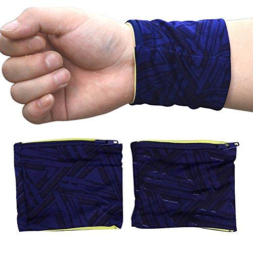 chic-chic 2pc Mini Tasche Handgelenk Zip Sport Tasche Brieftasche kleine Handtasche Tasche Jogging Running Fitness Fahrrad Radsport Outdoor, blau