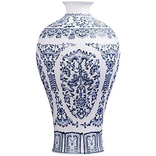 Ancien Style Chinois Jingdezhen Vase Coquille d'oeuf Bleu et Blanc Rouge Porcelaine Kaolin Fleurs Décoration intérieure Vases Faits à la Main (Color : B)